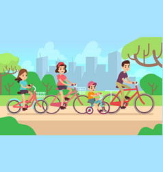happy children and parents riding bikes active vector image