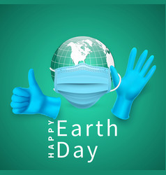 Happy earth day earth globe in medical face mask vector