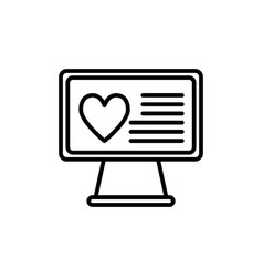 heart on desktop line icon monitor with heart vector image