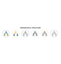 Hierarchical structure icon in filled thin line vector