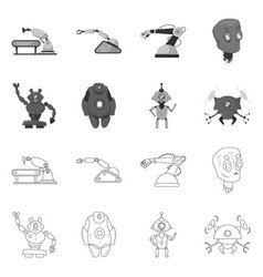 isolated object of robot and factory logo set of vector image