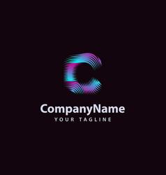 letter c modern wave line logo design template vector image