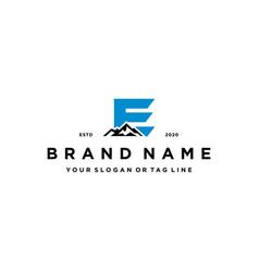 Letter e mountain logo design concept vector