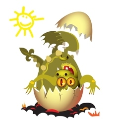 Little dragon which is born from an egg vector