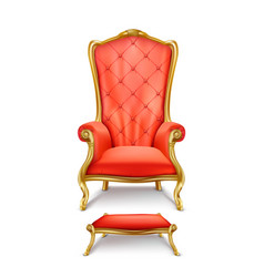 Luxurious red throne in realistic style vector