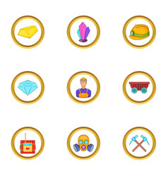 miner work icons set cartoon style vector image