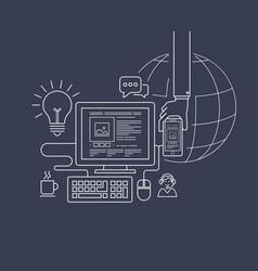modern flat thin line design for web design vector image