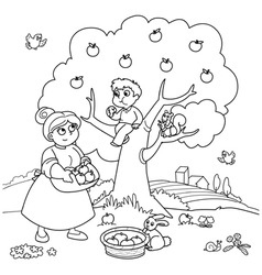 Mom and son with apple tree vector image