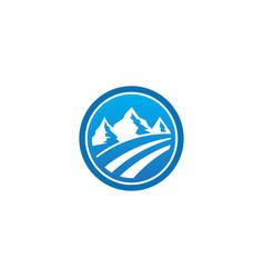 Mountain landscape emblem logo vector