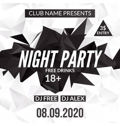 Night Dance Party design template in polygonal vector image