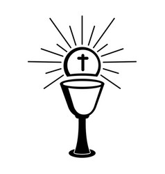 Outline of a chalice and host vector