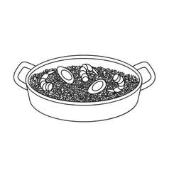 Paella icon in outline style isolated on white vector