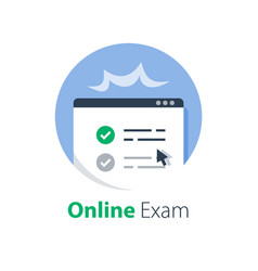 Pass online exam knowledge review vector