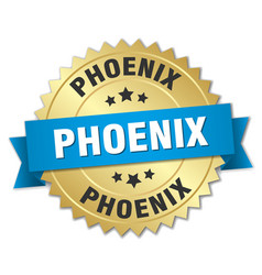Phoenix round golden badge with blue ribbon vector