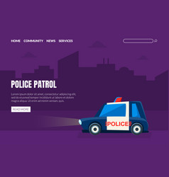 police patrol landing page template police car on vector image
