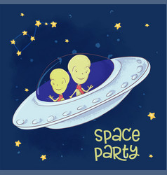 postcard poster cosmic friends in a flying saucer vector image
