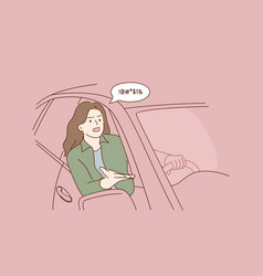 Quarrelling and negative emotions car driver vector