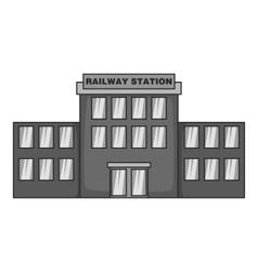 Railway station icon black monochrome style vector