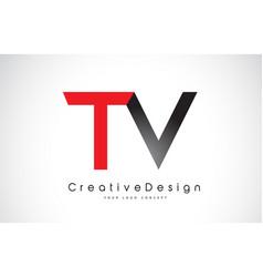 Red and black tv t v letter logo design creative vector