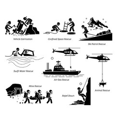 rescue operations pictograms depict life saving vector image
