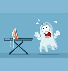 Scared ghost afraid of an ironing machine cartoon vector
