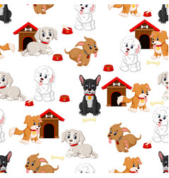 seamless pattern with various cute dogs vector image