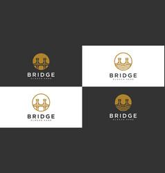 set bridge architecture and constructions logo vector image