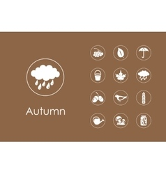 Set of autumn simple icons vector image