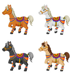 set of cartoon horses vector image