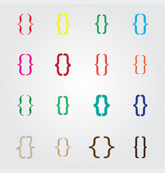 set of curly colored different bracket icons vector image