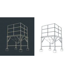 Silo storage drawings vector