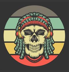 skull dreadlocks headphone retro vector image