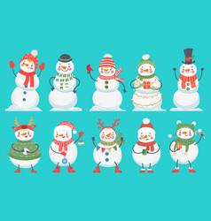 snowman cute christmas snowmen in winter clothes vector image