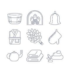 Spa sauna linear icons fireplace mitt herbal tea vector