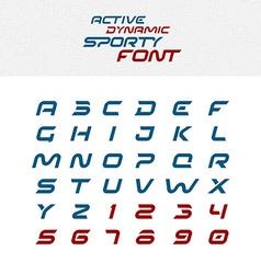 Sport techno font alphabet letters Skew italic vector image