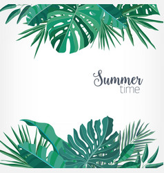 Square backdrop or background with green palm vector