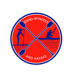Stand-up paddle and kayak circle retro vector