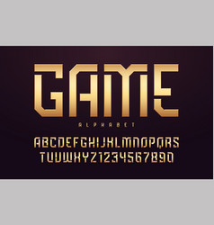 stylized glossy golden uppercase letters alphabet vector image