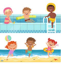 summer water games in aquapark cartoon vector image