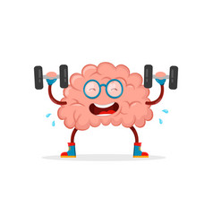 Train your brain brain cartoon flat vector