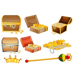 Treassure chests and golden objects vector