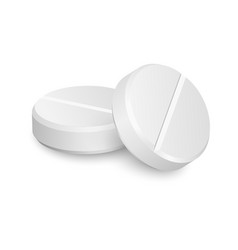 Two realistic medical pills isolated on vector image