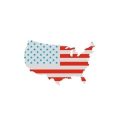 USA map in american flag colors icon flat styl vector