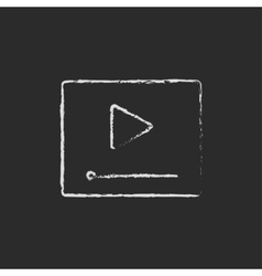 Video player icon drawn in chalk vector image