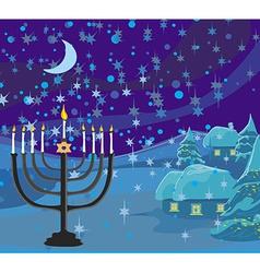 Winter Christmas scene - hanukkah menorah abstract vector