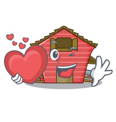 With heart spring day with a red barn cartoon vector