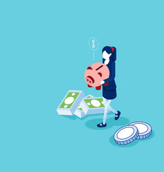 woman holding piggy bank with money flat vector image