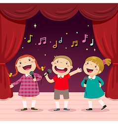 Children sing with a microphone on the stage vector image