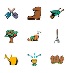 gardening icons set cartoon style vector image