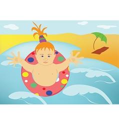 The child sea beach vector image vector image